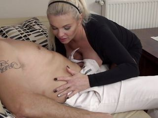 this erotic blonde milf sucks her man until he is ready to cum hard