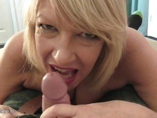 mature blonde offering passionate blowjob