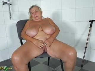 granny with huge saggy boobs masturbates in the bathroom
